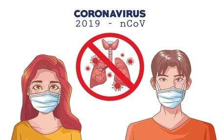 141506540 coronavirus infographic with people using mask and lungs vector illustration design